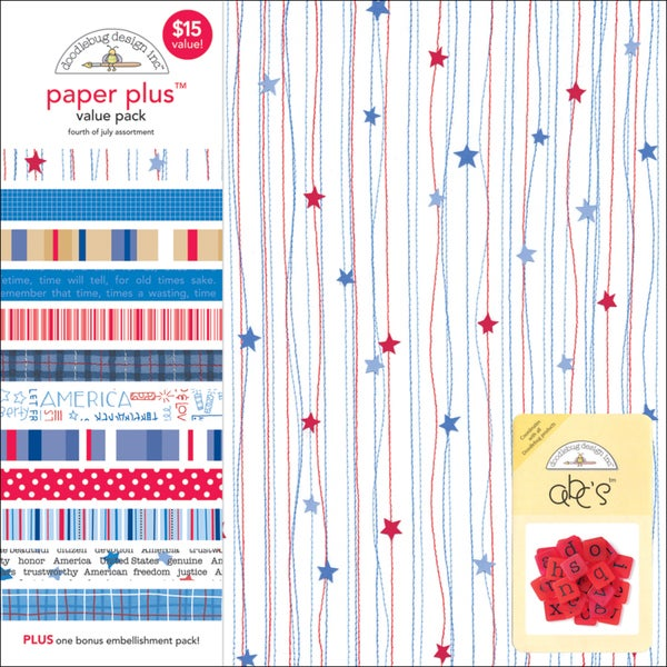 Doodlebug Paper Plus Value Pack 12inX12in 12/Pkg4th Of July
