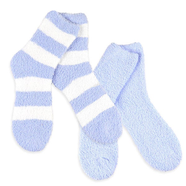 Teehee Cozy Women's Crew Rugby Stripe Light Blue Socks (Pack of 2)