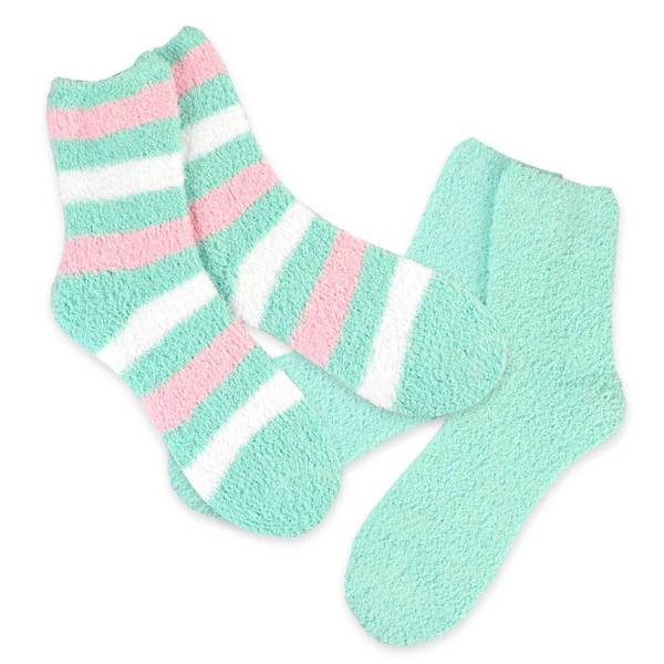 Teehee Cozy Women's Crew Rugby Stripe Socks (Pack of 2)
