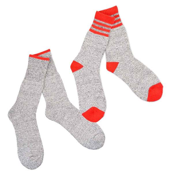 Recycled Cotton Men's and Women's Stripe Thermal Boot Socks (Pack of 2)