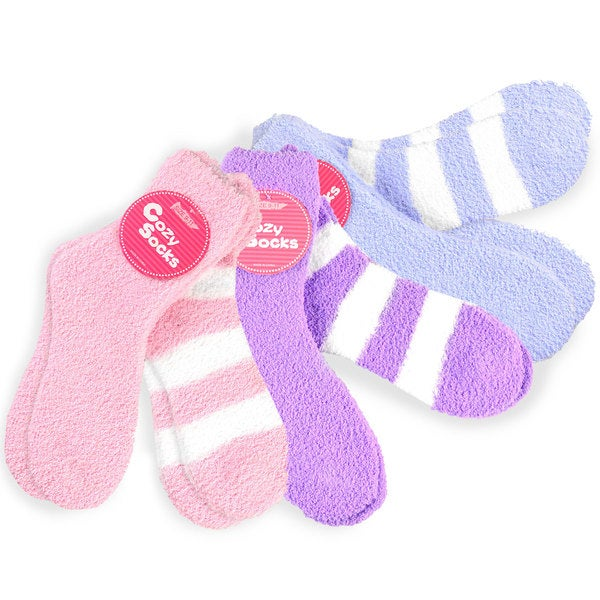 Women's Cozy Crew Socks Pink/ Purple/ Blue Rugby Stripe Socks (Pack of 6)
