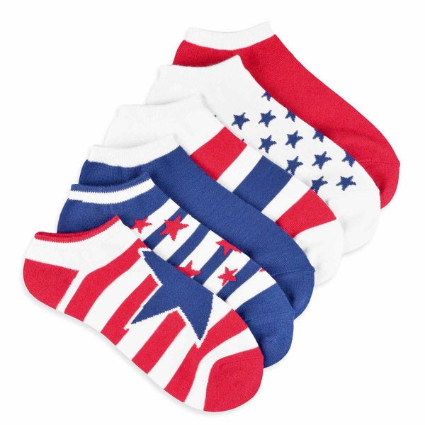 Teehee American Flag Women's Stars and Stripes No Show Socks (Pack of 6)