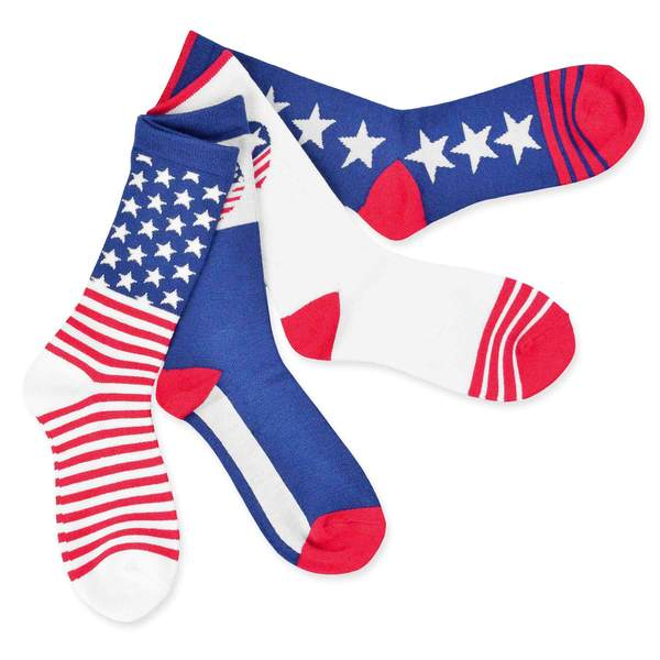 Teehee American Flag Women's Stars and Stripes Socks (Pack of 6)
