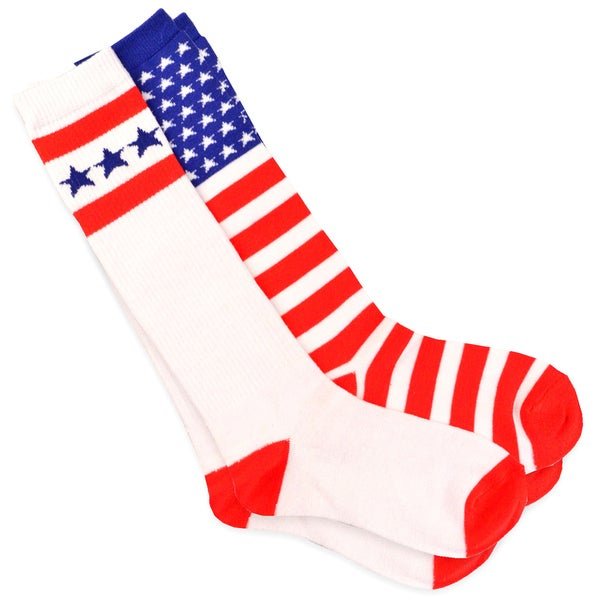Teehee American Flag Women's Cotton Knee High Stars and Stripes Socks (Pack of 2)