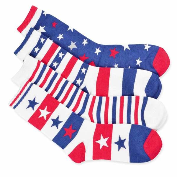 Teehee American Flag Women's Cotton Crew Stars and Stripe Socks (Pack of 4)