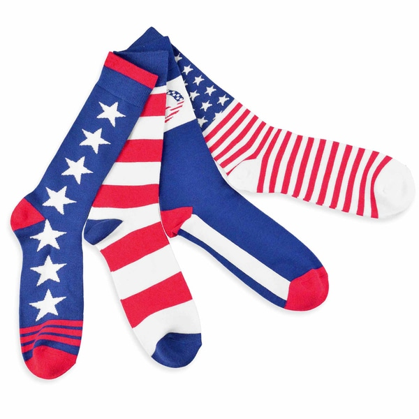 Teehee American Flag Men's Cotton Crew I Love Usa Socks (Pack of 4)