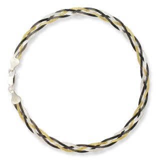 Sterling Silver Black and Goldplated 10-inch Braided Anklet