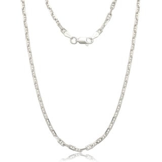 Sterling Silver Italian 3mm Anchor Mariner Chain Necklace