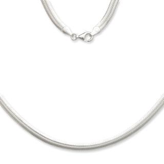 Sterling Silver Italian 5mm Magic Flex Oval Herringbone Chain Necklace
