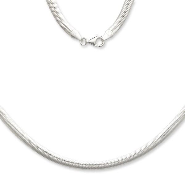 Sterling Silver Italian 5mm Magic Flex Oval Herringbone Chain Necklace