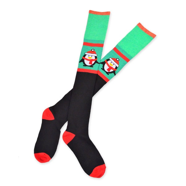 Teehee Christmas Holiday Penguin Over The Knee High Socks