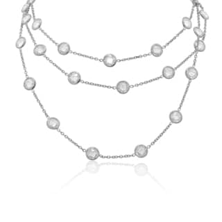 Gioelli Sterling Silver Checker Cubic Zirconia By The Yard Necklace