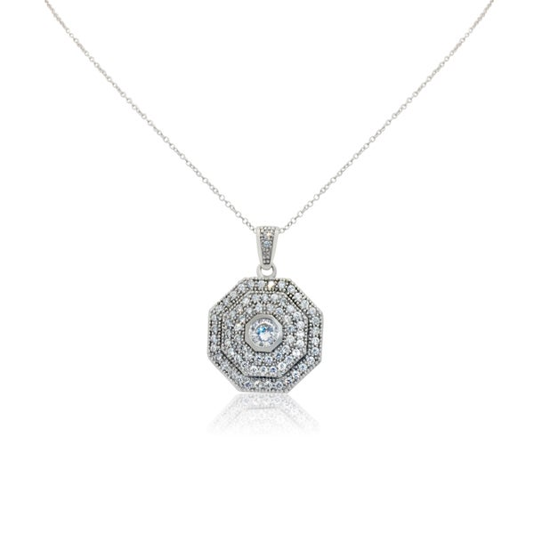 Gioelli Sterling Silver Layered Octagon Pendant Necklace