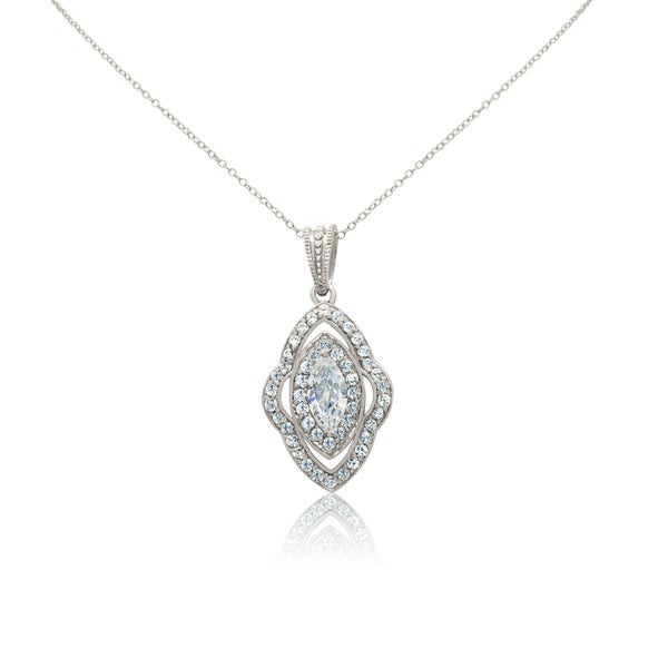 Gioelli Sterling Silver Marquise Cubic Zirconia Pendant Necklace
