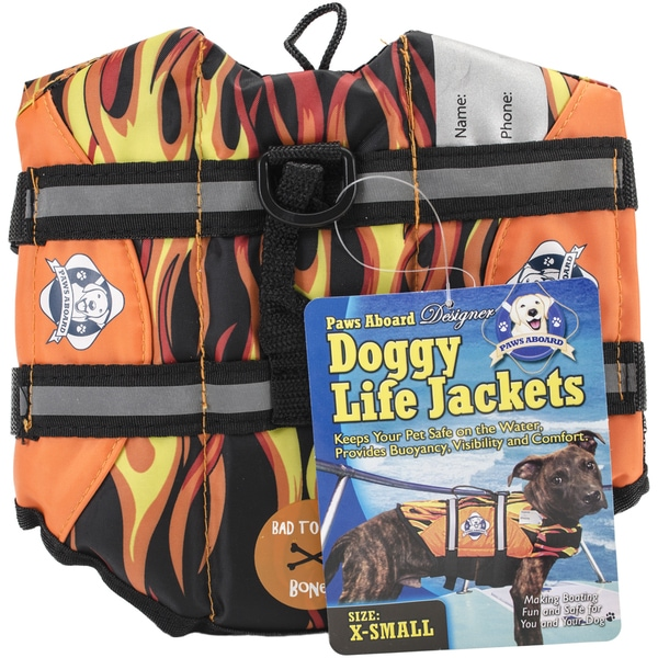 Paws Aboard Doggy Life Jacket Extra SmallRacing Flames