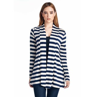 Women's Plus Size Striped Cardigan With Suede Elbow Patches