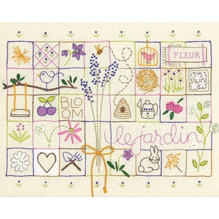 Le Jardin Sampler Stamped Embroidery Kit14inX11in Stitched In Thread