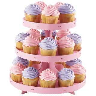Corrugated Cupcake Stand 3 TiersPink