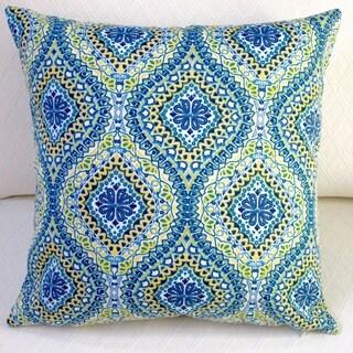 Modern Spanish Blue Geometric Outdoor Throw Pillow (Set of 2)