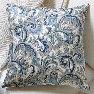 Montero 20-inch Lustrous Paisley Blue Accent Throw Pillow