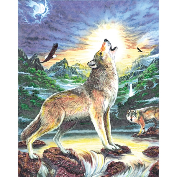 Color Pencil By Number Kit 8.75inX11.75inWolf At Night