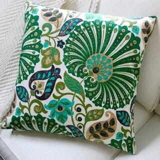 Bankura 20-inch Emerald Green Floral Throw Pillow