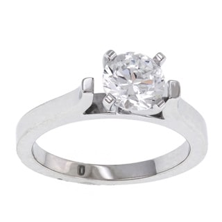 14k White Gold Cubic Zirconia Solitaire Engagement Ring