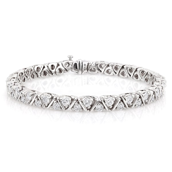 Platinum 5 3/4ct TDW Diamond Double-row Tennis Bracelet (G,VS1)