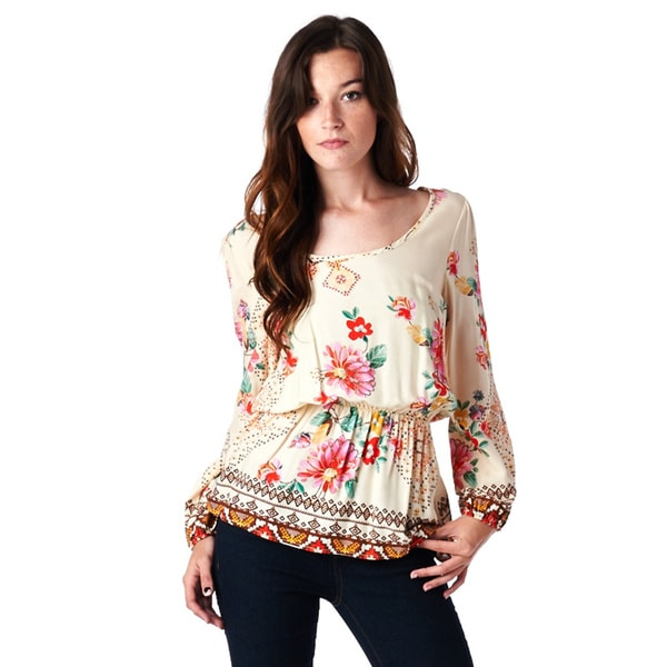 Juniors' Floral Print Bubble Sleeve Top