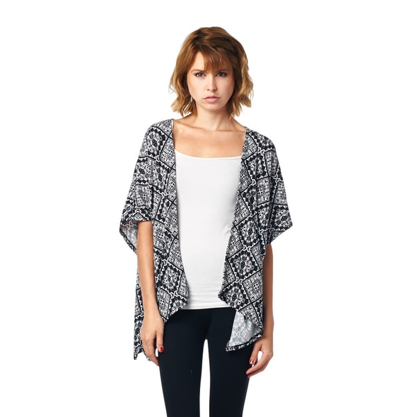 Always Me Clothing Juniors' Printed Knit Cardigan With Open Front