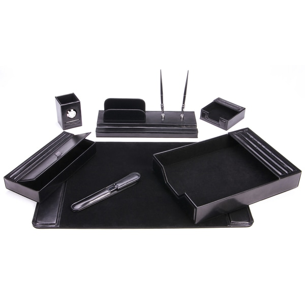 7-Piece Black Leather Desk Set 16252390
