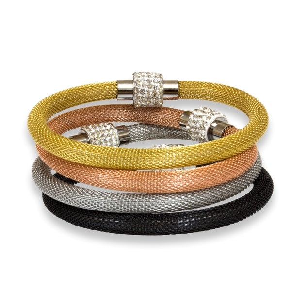 Mesh Bracelet with Stainless Steel Crystal Studded Clasp