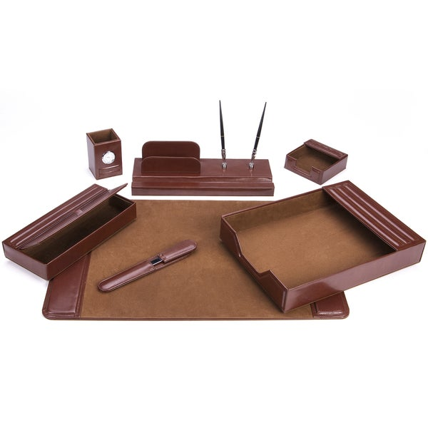 7-Piece Brown Leather Desk Set 16252395