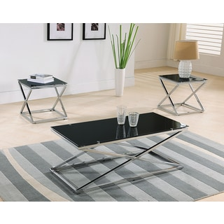 K&B T6198 Chrome Cocktail Table and Two End Tables (Set of 3)