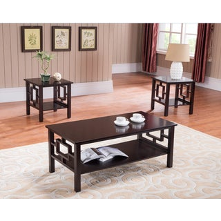 K&B T92 Cherry Cocktail Table and Two End Tables (Set of 3)