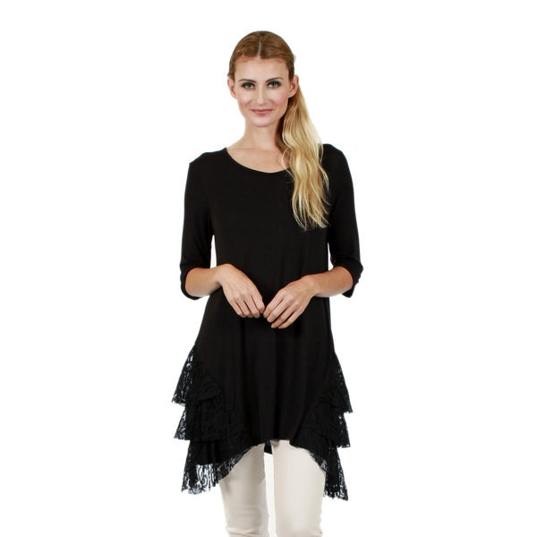 Firmiana Women's 3/4 Sleeve Black Lace Detail Tunic