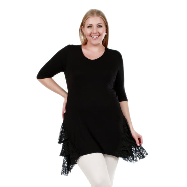 Firmiana Women's Plus Size 3/4 Sleeve Black Lace Detail Tunic