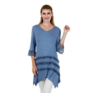 Firmiana Women's 3/4 Sleeve Blue Tunic with Lace