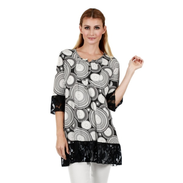 Firmiana Women's 3/4 Sleeve Black and White Lace Ruffle Tunic