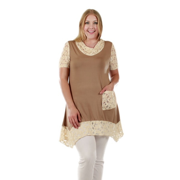 Firmiana Women's Plus Size Short Sleeve Beige Tunic with Cream Lace