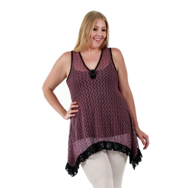 Firmiana Women's Plus Size Sleeveless Purple Tunic