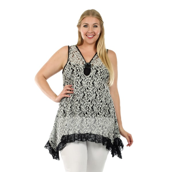 Firmiana Women's Plus Size Sleeveless Black and White Floral Ruffle Tunic