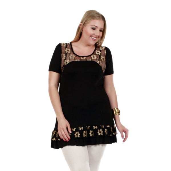 Firmiana Women's Plus Size Short Sleeve Black and Beige Floral Tunic