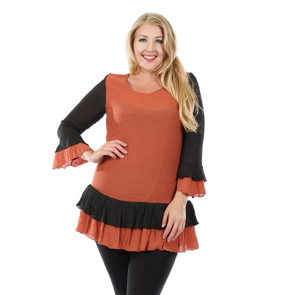 Firmiana Women's Plus Size Long Sleeve Black and Orange Ruffle Tunic