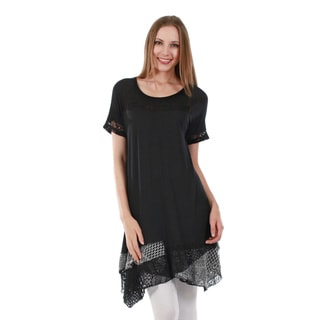 Firmiana Women's Short Sleeve Black Tunic with Sidetail