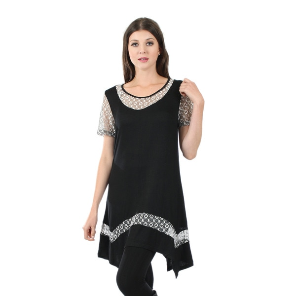 Firmiana Women's Short Sleeve Black or Blue Tunic with Lace