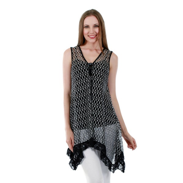Firmiana Women's Sleeveless Black Tunic