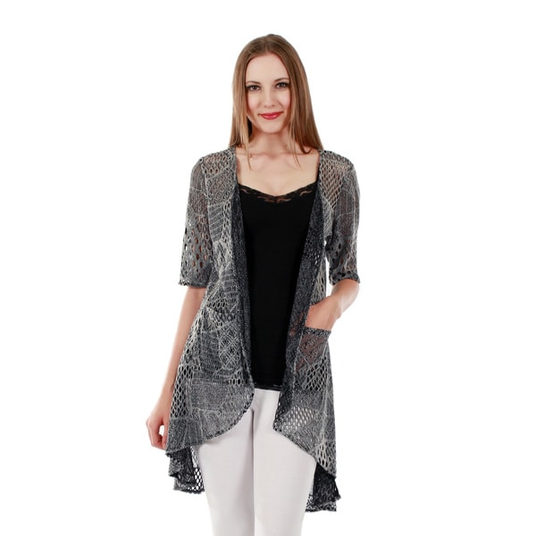 Firmiana Women's Short Sleeve Grey Duster