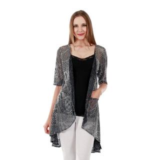 Firmiana Women's Short Sleeve Grey Duster