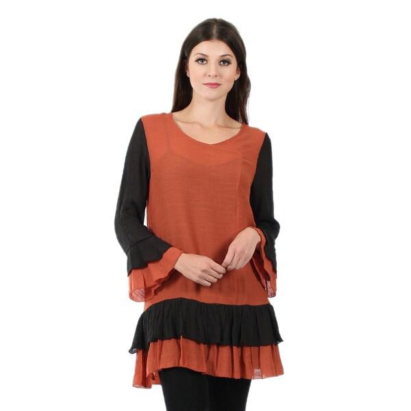 Firmiana Women's Long Sleeve Black and Orange Ruffle Tunic
